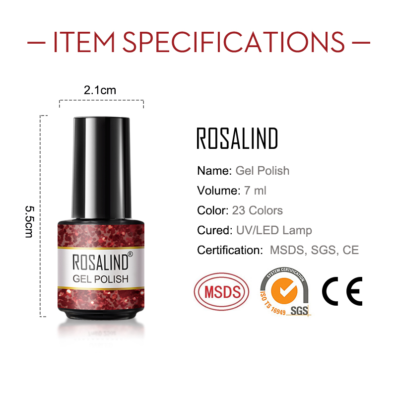 ROSALIND high quality oem private label 7ml nails colored gel polish wholesale 23 colors optional gel polish for nail design
