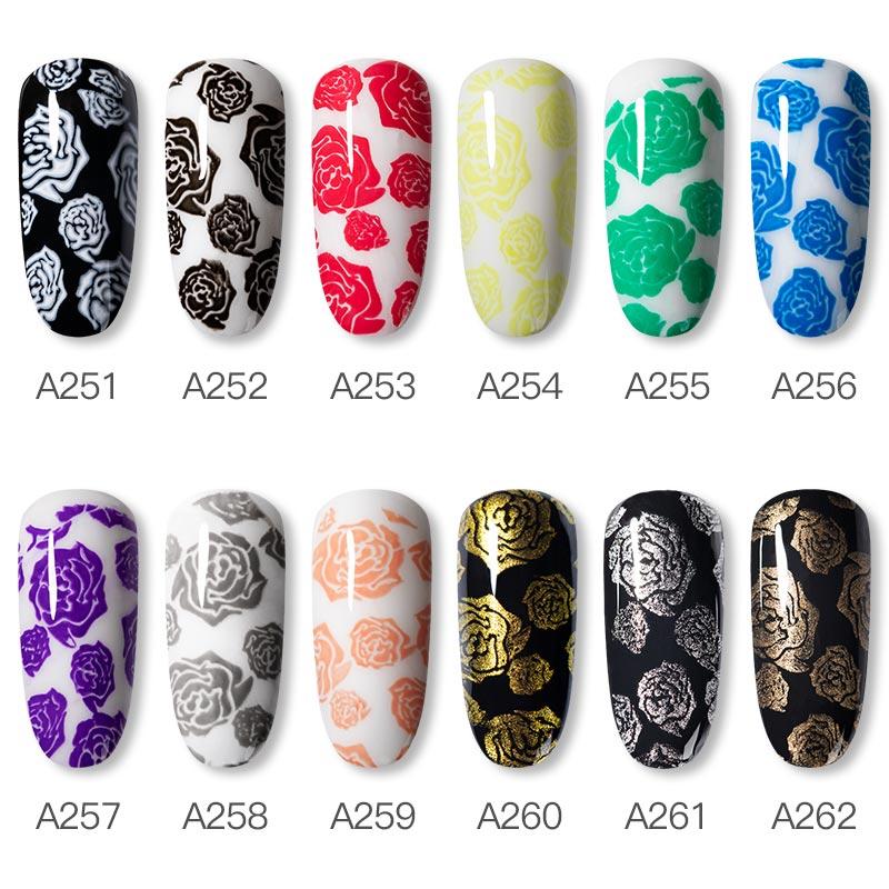 Rosalind new arrival OEM custom label nail art stamp gel polish semi permanent nail stamping gel for nail art stamping