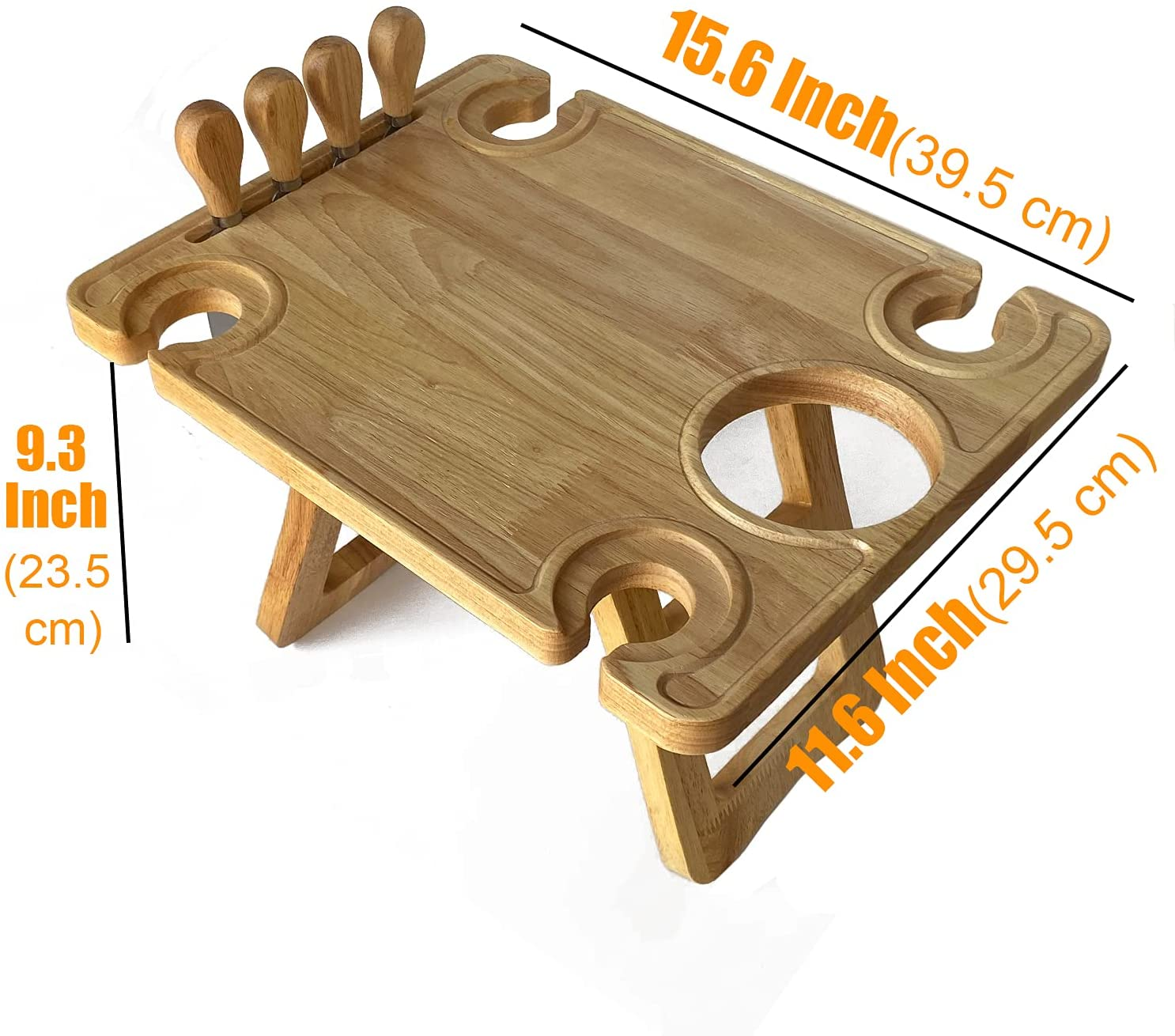 Bamboo Portable Wine Picnic Table Folding Beach Table Snack & Cheese Tray with 4 Wine Glasses Holder Free 4 Pcs