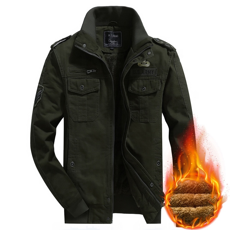 2020 Custom Design Winter Military Jacket Windproof Plus Size Thick Warm Outerwear Men Jacket