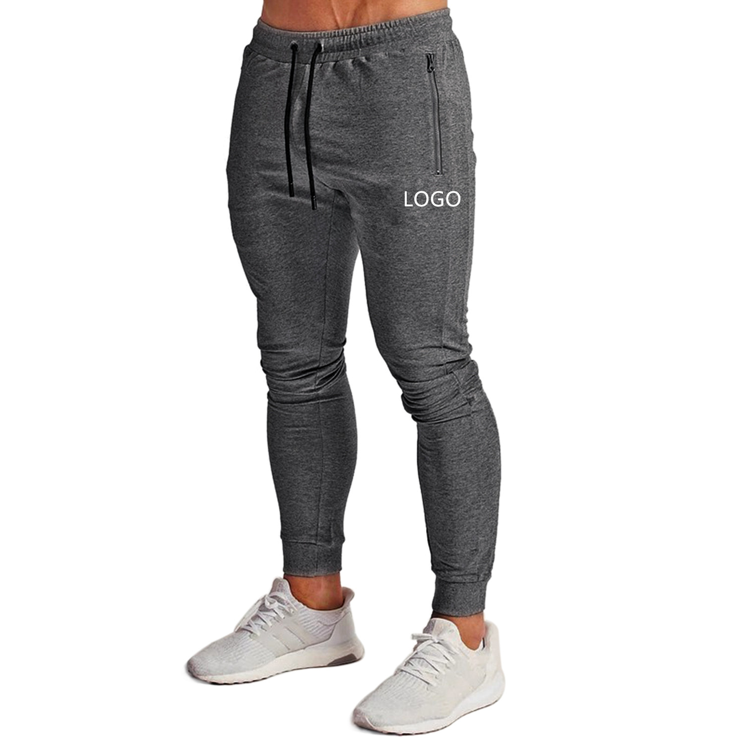 Slim Fit Joggers Tapered Sweatpants For Gym Casual Zipper Workout Running Athletic Men Stacked Joggers