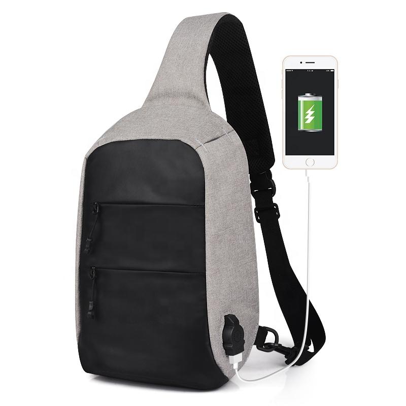 Черная, серая сумка-слинг с usb-портом для зарядки, с защитой от кражи, нагрудная Сумка-Антивор через плечо, сумки через плечо с usb-зарядкой