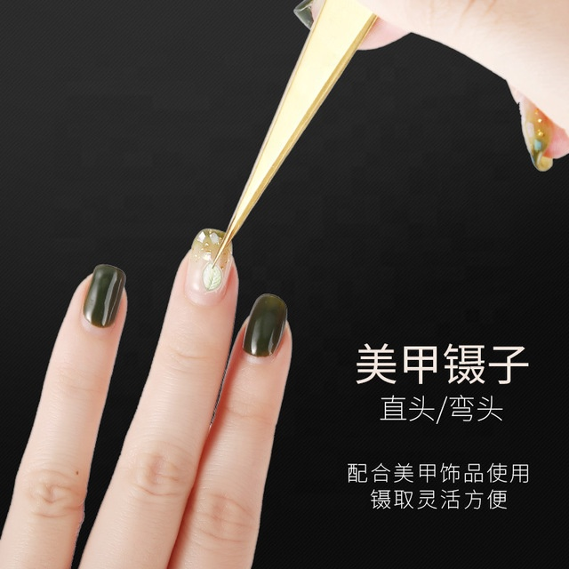 Gold Curved Straight Tweezers For Eyelash Extension Nail Art UV Gel Stickers Picking Tool Stainless Steel Nail Makeup