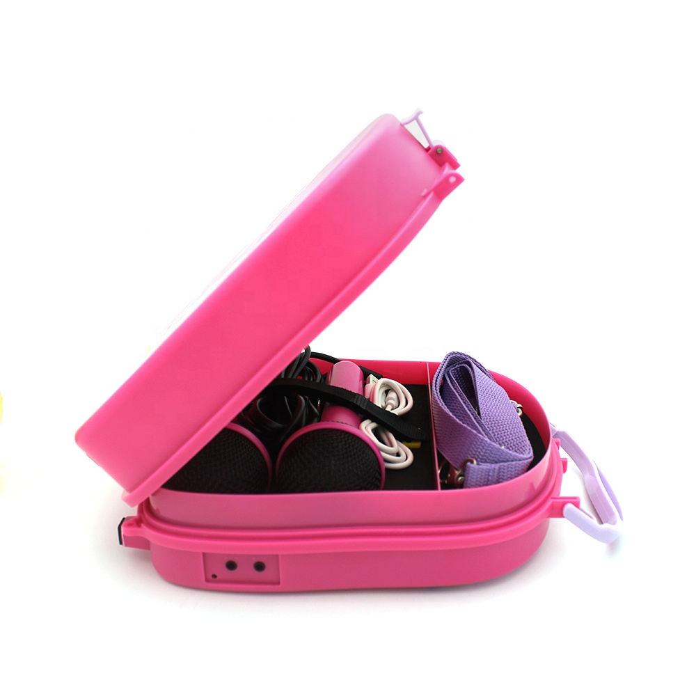 Colorful Kids Karaoke Machine Player Speaker for Gift Portable Singing Machine Sets With Two Microphones for Children