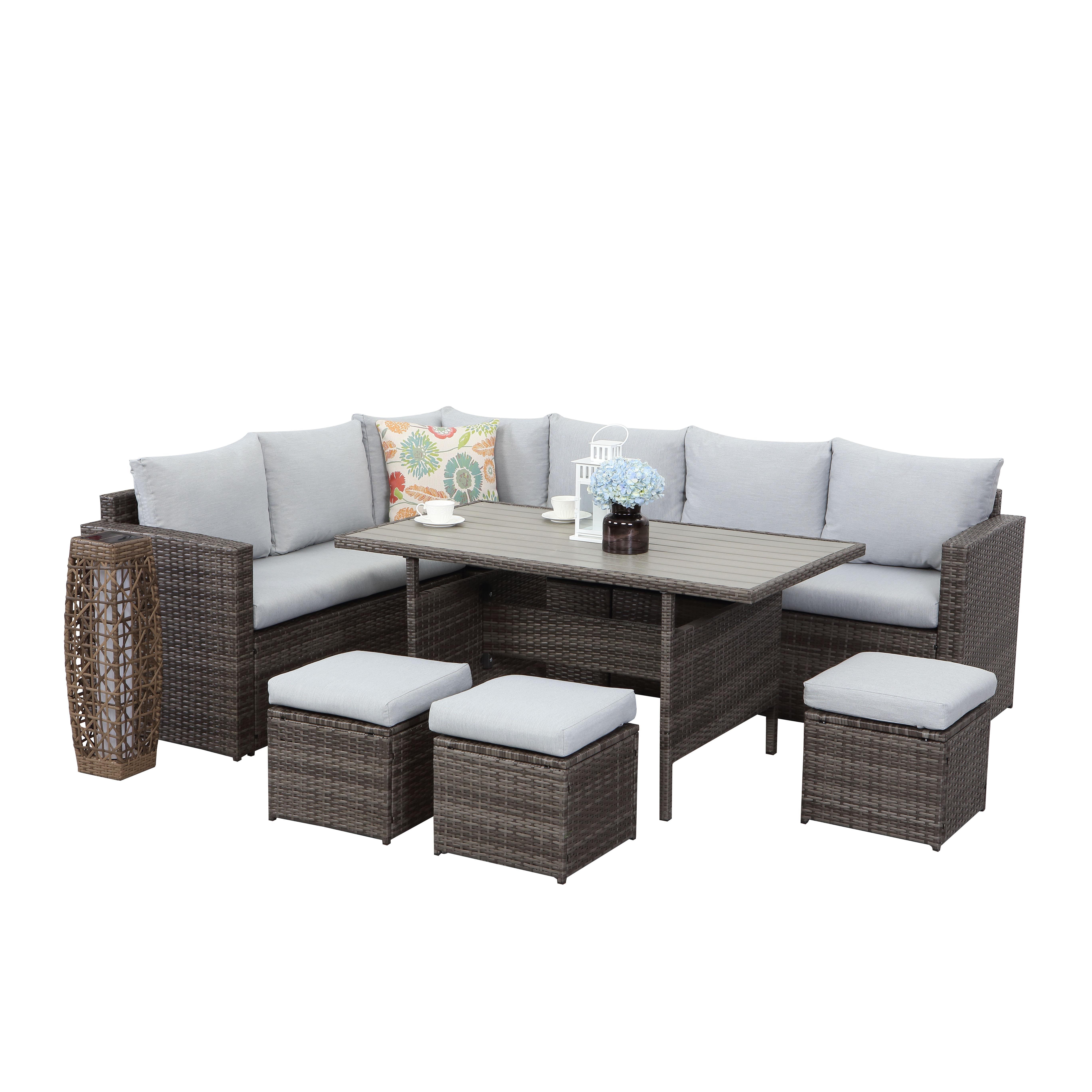 Садовый набор секционный диван мебель обеденный стол и Диван Набор Горячая продажа ротанга набор мебель