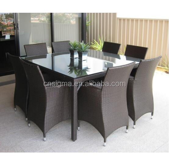 Обеденная садовая мебель, квадратный уличный обеденный стол из ротанга, Плетеный обеденный набор для патио