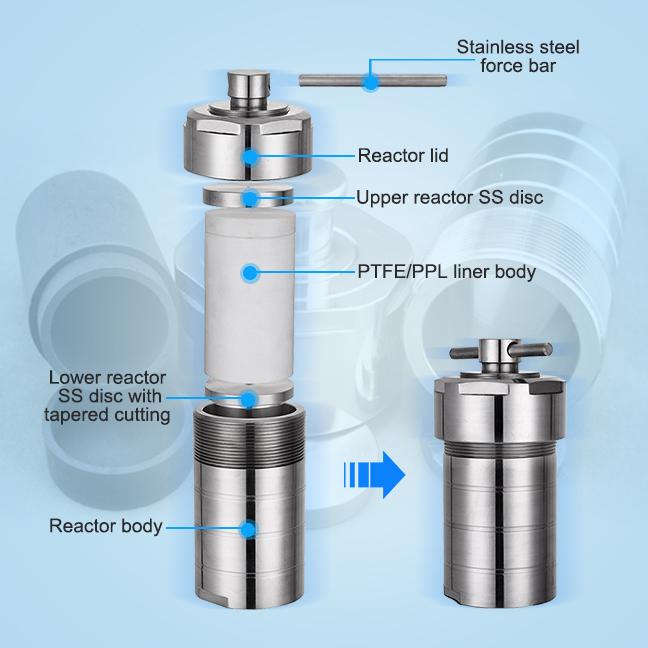 Гидротермический синтезирующий реактор Toption 50 мл, химический Автоклавный реактор из нержавеющей стали