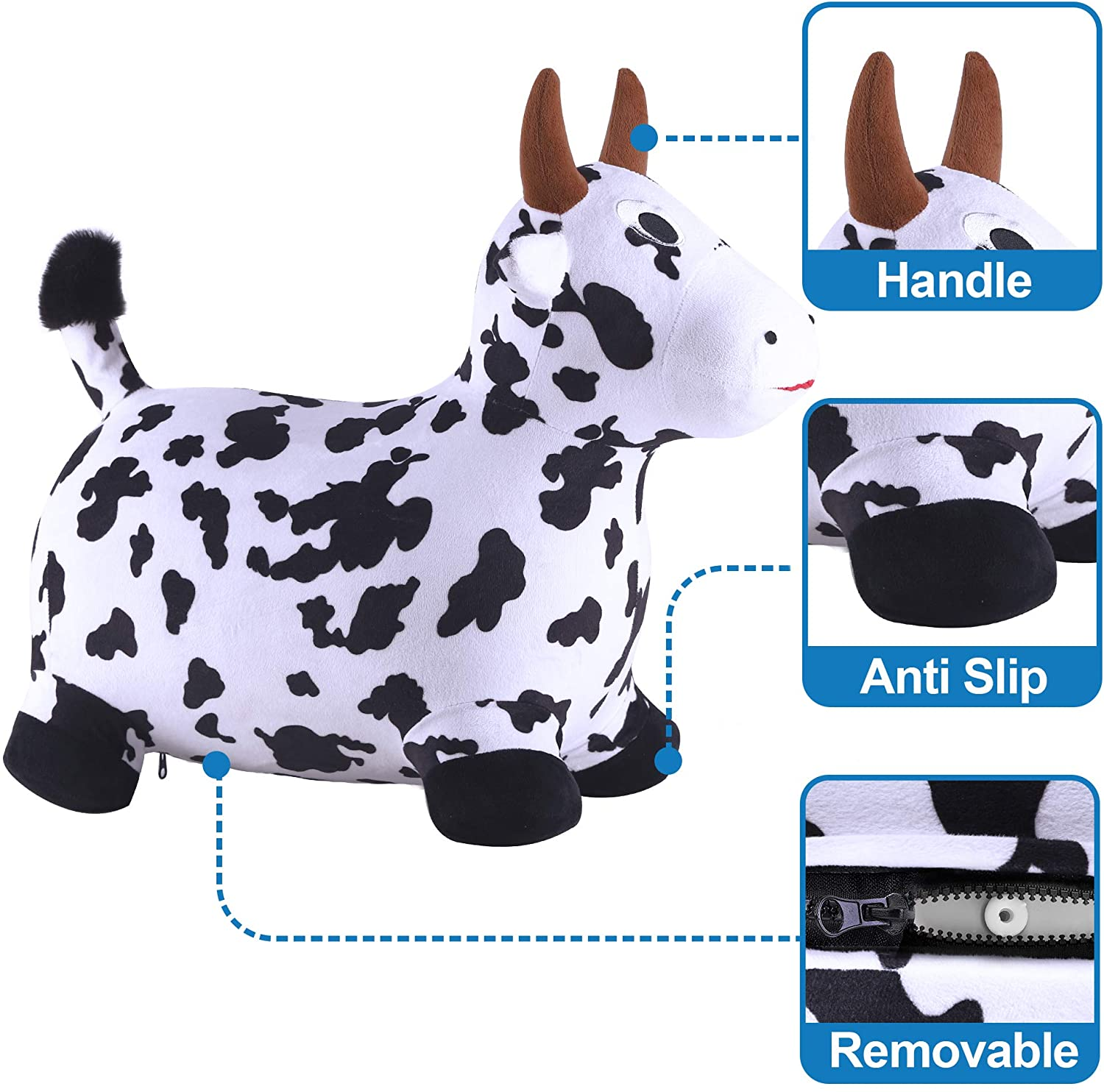Bouncy Pals Cow Hopping Horse Outdoor Ride On Bouncy Animal Play Toys Activities Gift for 2-10 Year Old Kids Toddlers boy girl