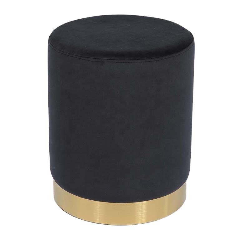 Set of 2 Velvet Fabric Round Ottoman Pouf Modern Storage Ottoman with metal rings