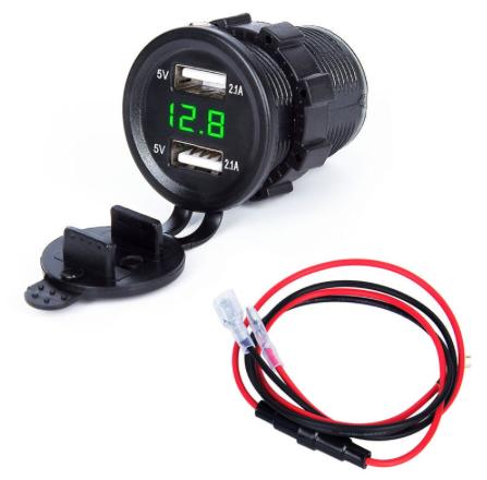 car usb charger socket dual Adapter Outlet LED Voltmeter car motorcycle usb
