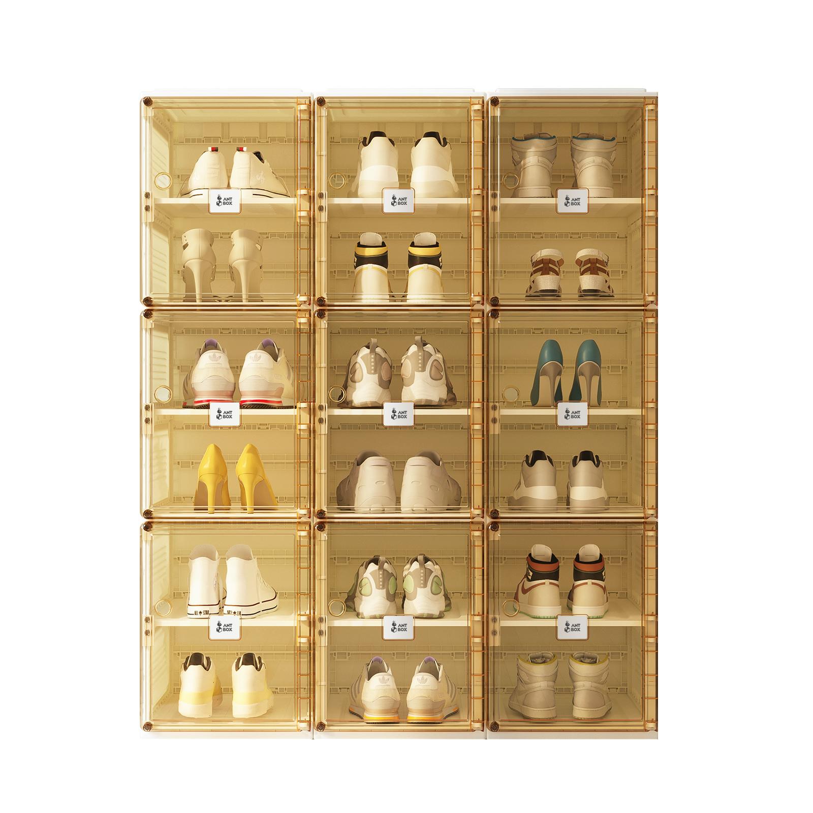 Plastic Acrylic Magnetic Transparent Storage Cabinet Shoe Rack Shoe Box