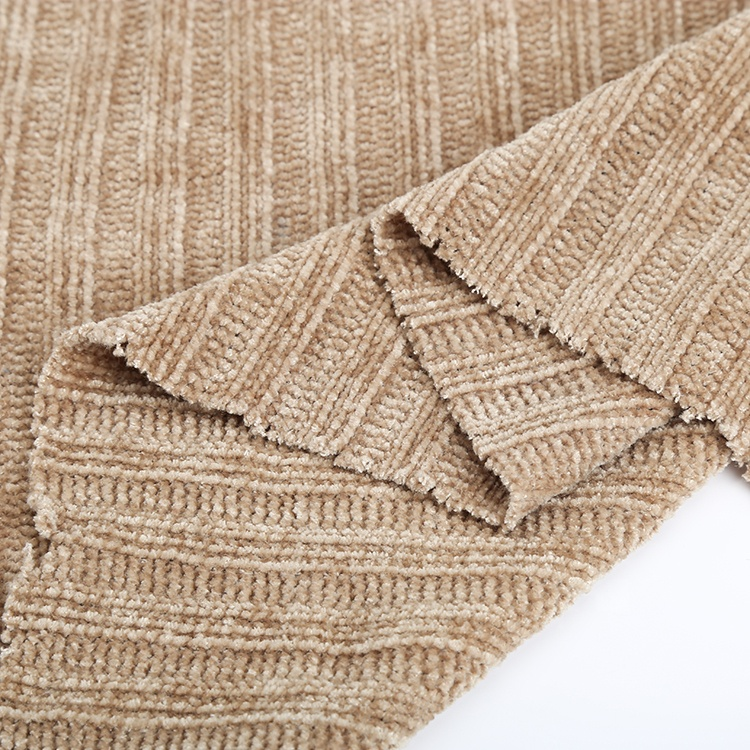 China professional factory 100% polyester velvet chenille knitting fabric 3*3 rib for woman sweater