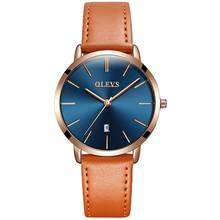 OLEVS женские ультра тонкие 6,5 мм минималистичные тонкие Водонепроницаемые кожаные модные повседневные Кварцевые женские наручные часы(Китай)