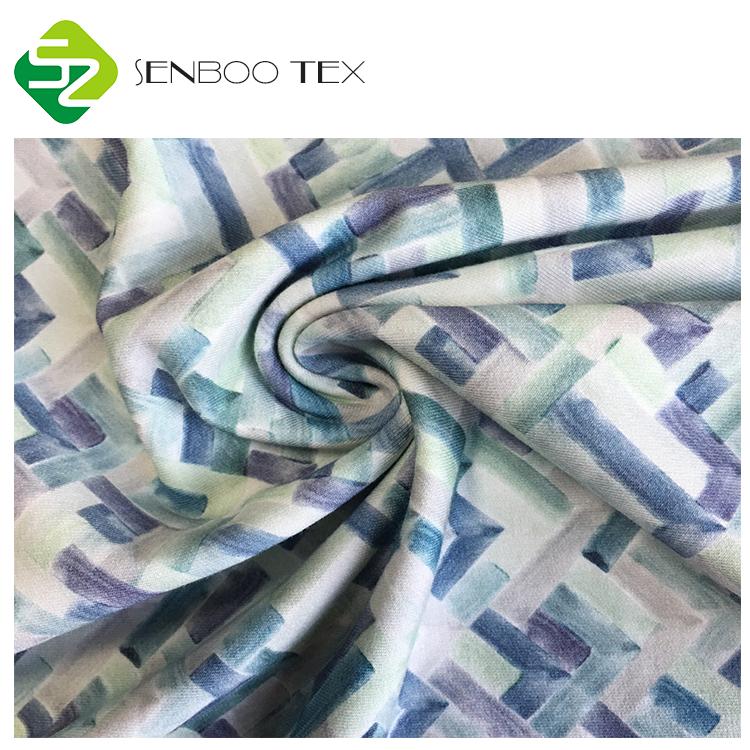 Оптовая продажа, сертифицированная Органическая впитывающая влагу ткань из бамбукового хлопка и спандекса с принтом для одежды