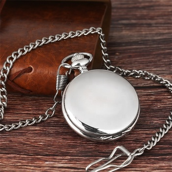 Hot Sale High Quality Customized Round Shape Silver Antique Pocket Watch With Chain