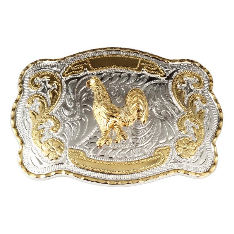 Two Tone Shiny Gold Silver Belt buckle Fashion Designer Horse Buckle Cowboy
