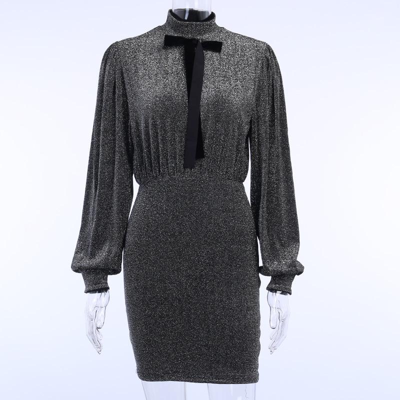 LVINMW Сексуальное Тонкое Платье с серебряной проволокой и длинным рукавом на шее 2020 весеннее женское элегантное мини-платье на шнуровке с бан...(Китай)