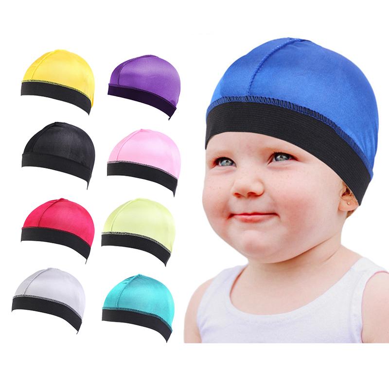 baby silky elastic band wave caps durag custom kids boy girl sleep cap hat turban dome wig hair care cap