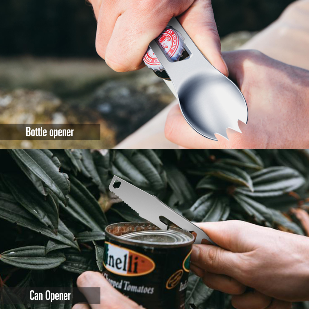 Outdoor Camping Picnic Portable Opener Multifunction Stainless Steel Picnic Fork Spoon