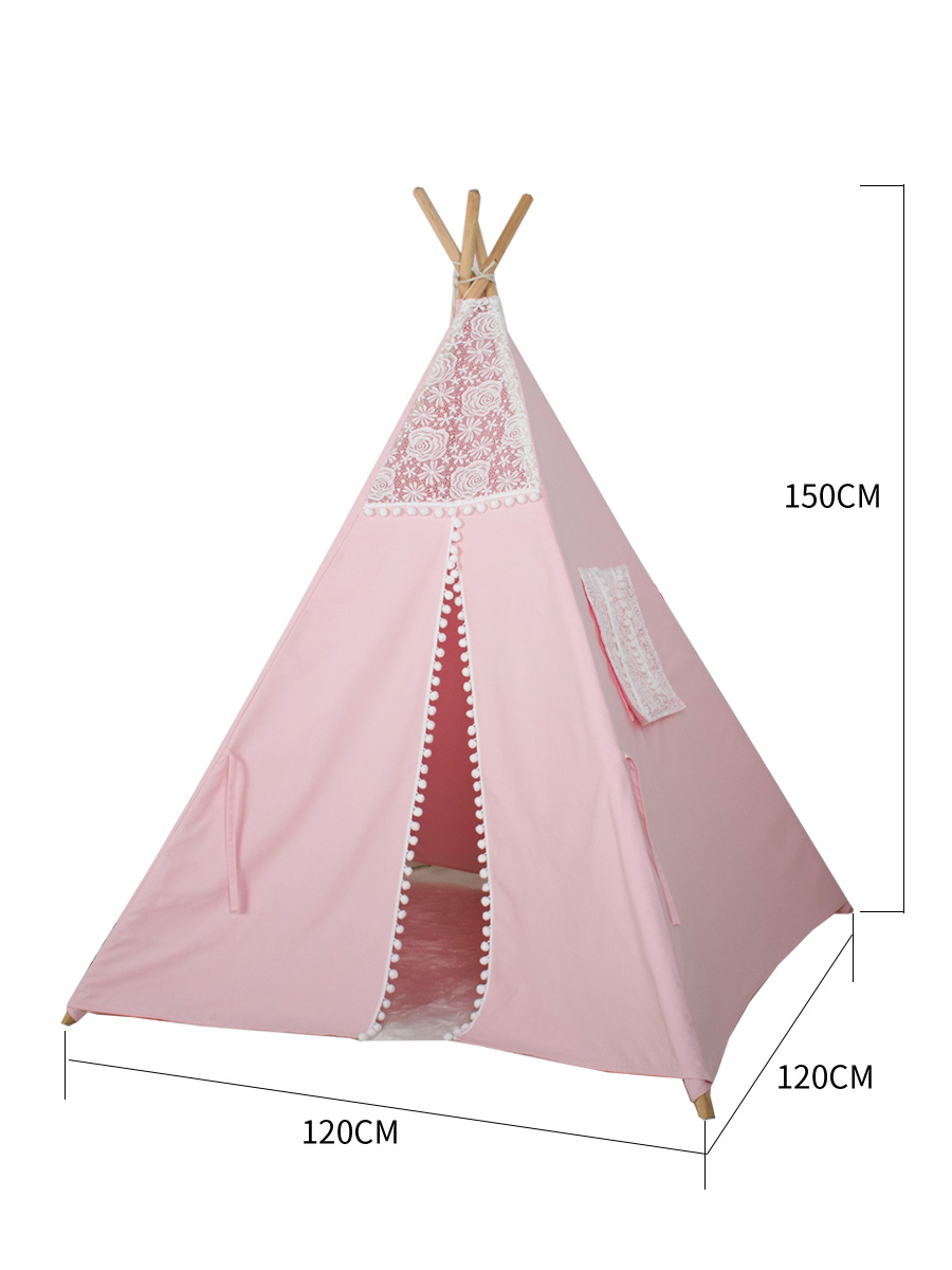EN71 Standard Child-princess Indian Teepee child lace House Canvas Children play Teepee Tent