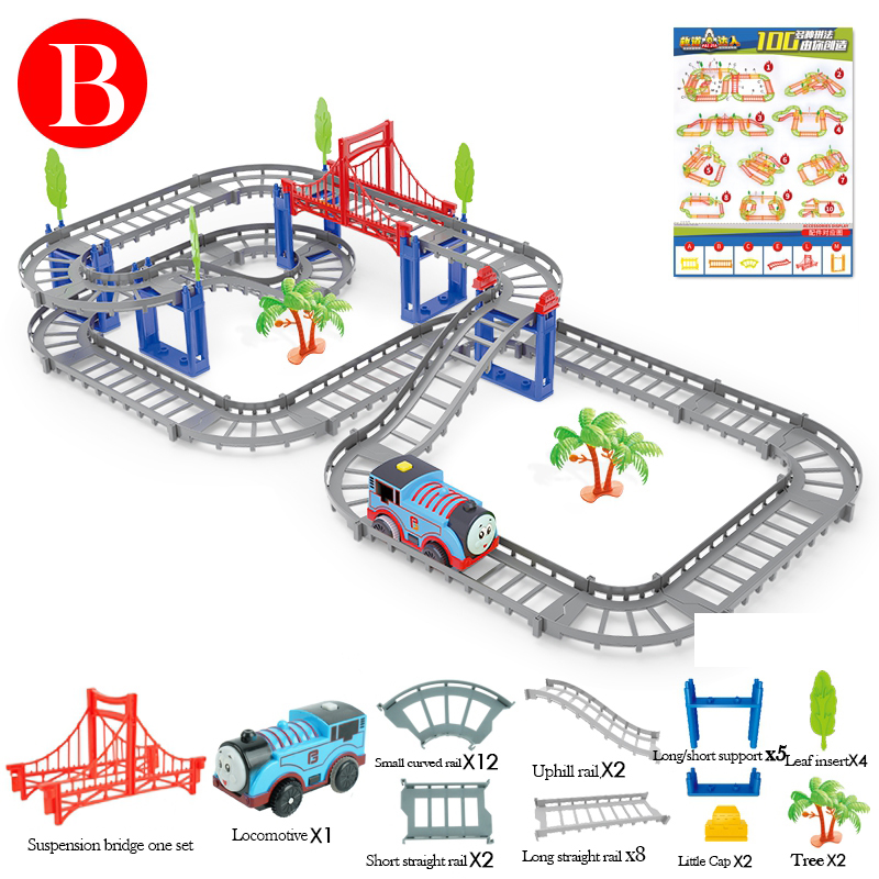 Children's toy electric track car racing track puzzle track assembly car small train