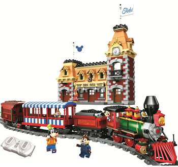 Professional Legos Creative Remote Control Disny Train With Light 11442 Collection Technical Rail Brick Toys Building Block Set