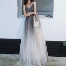 Длинное платье подружки невесты с градиентной сеткой, сексуальное платье с открытой спиной на бретельках, кружевные свадебные платья, вече...(Китай)