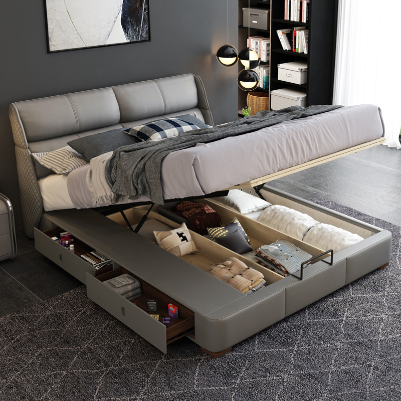 Nordic light luxury leather  modern and simple  double  master bedroom  tatami storage leather  marriage bed