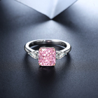 Pink Jewelry S925 Sterling Silver Luxury 2.0CT Moissanite Square And Drop Shape Rare Pink Diamonds Ring Engagement Wedding Party Jewelry