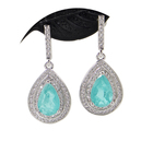 Ring Paraiba Stone Earring Ring Necklace And Pendant Fashion Jewelry Set Bisuteria For Women Wedding Party Gift Present