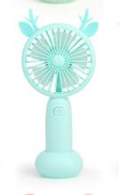 Usb мини-вентилятор для зарядки, Настольный ручной вентилятор с изображением оленя, мультяшный электрический вентилятор, светильник, тихий, 3...(Китай)