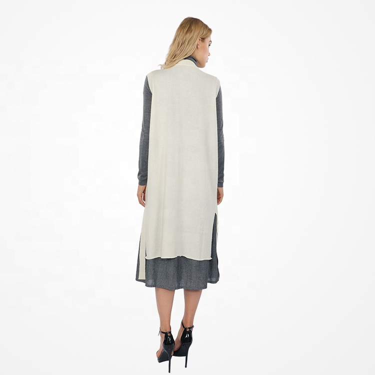 Newest Fashion Design V Neck Knitted Winter Sleeveless Long Sweater Vest for Women