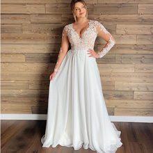 Сексуальные свадебные платья с v-образным вырезом размера плюс, шифоновые Свадебные платья трапециевидной формы с длинным рукавом, бесплат...(China)