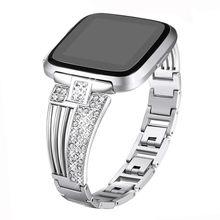 Металлические ремешки для часов для Fitbit Versa/Versa Lite & SE/ Versa 2, ремешок из нержавеющей стали, браслеты с бриллиантами, браслеты для женщин и девоч...(China)