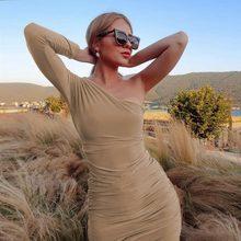 Зимнее женское платье, сексуальная одежда, платья для женщин, для вечеринок, ночных клубов, наряды, белые, черные, однотонные, на одно плечо, э...(Китай)
