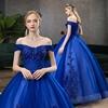 royal blue wedding dress offshouder