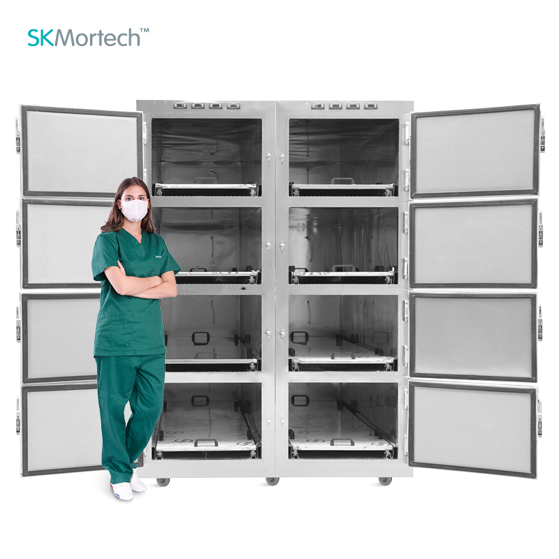 SKB-7A008 восемь с выдвижными ящиками тела оборудование морга гроб морга морозильник металлический Cadaver похороны холодильник Сделано в Китае