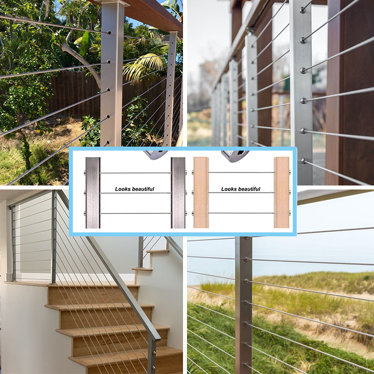 outdoor balcony deck fence post system stainless steel wire cable rail handrail railing tensioner hardware fittings kit