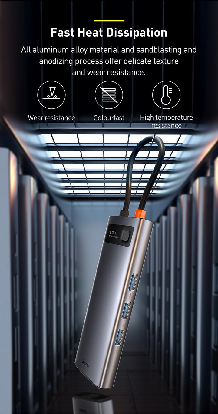 Baseus Metal Gleam Series 9-in-1 Multifunctional Type-C HUB Docking Station