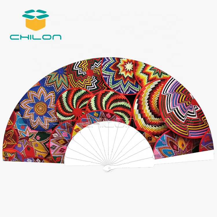 Chinese personalized hand fan side fabric hand folding fan