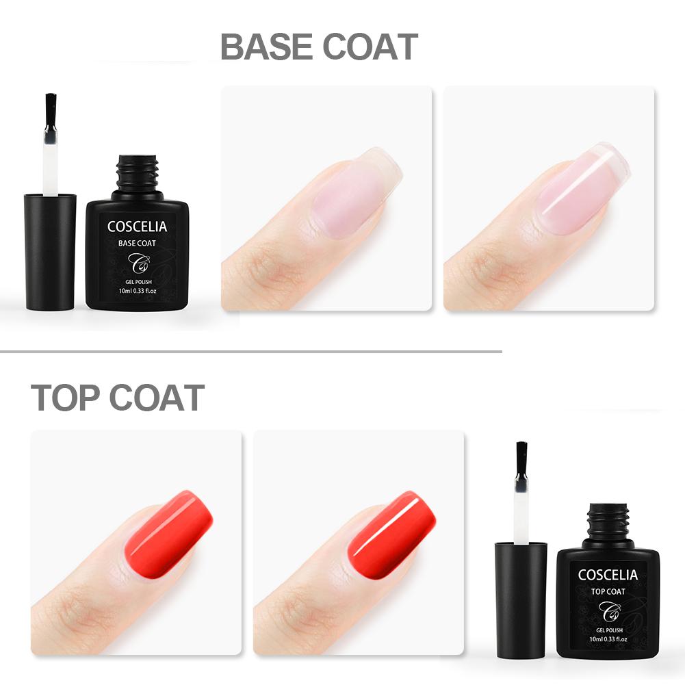 COSCELIA New 10ml Semi Permanent Nail Gel Polish Top and Base Coat Set Nail Art Products LED Lamp 30s UV Lamp 2mins TB Coat MSDS