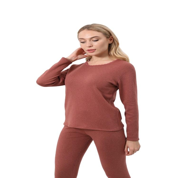 Wholesale high quality women lambs wool thermal underwear