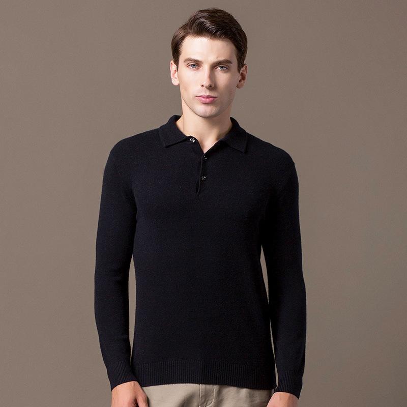 Новинка Осень-зима 2021, мужской повседневный приталенный пуловер из чистого кашемира на пуговицах, деловой свитер