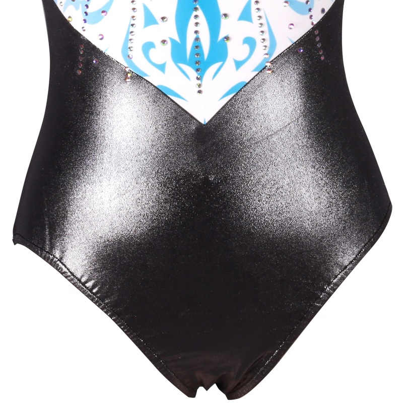 Factory Wholesale Sleeveless Gynmastics Leotards for Adult Girls Spandex And Mystique Fabri Costume With AB Crystal