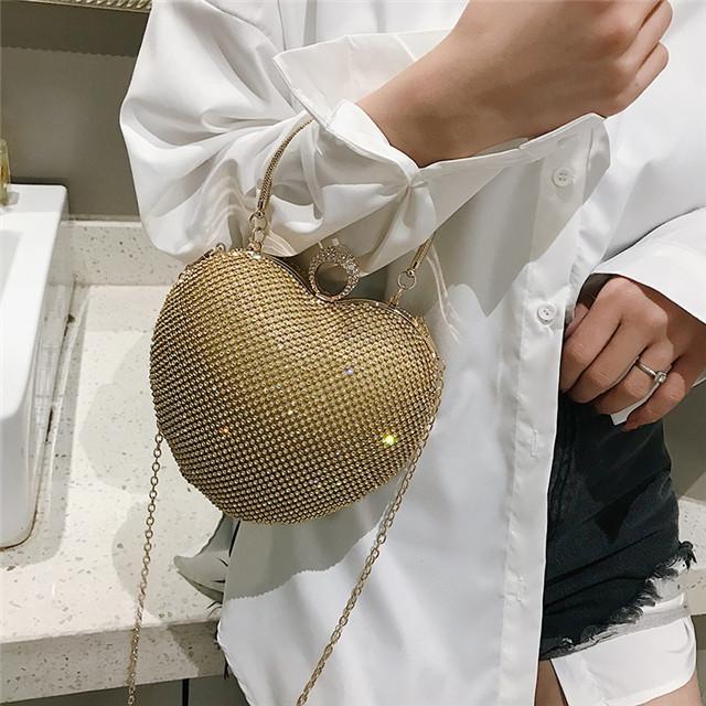 Luxury Cute Heart Shape Mini Clutch Purses Women Celebrities Rhinestone Small Diamond Crystal Evening Bag