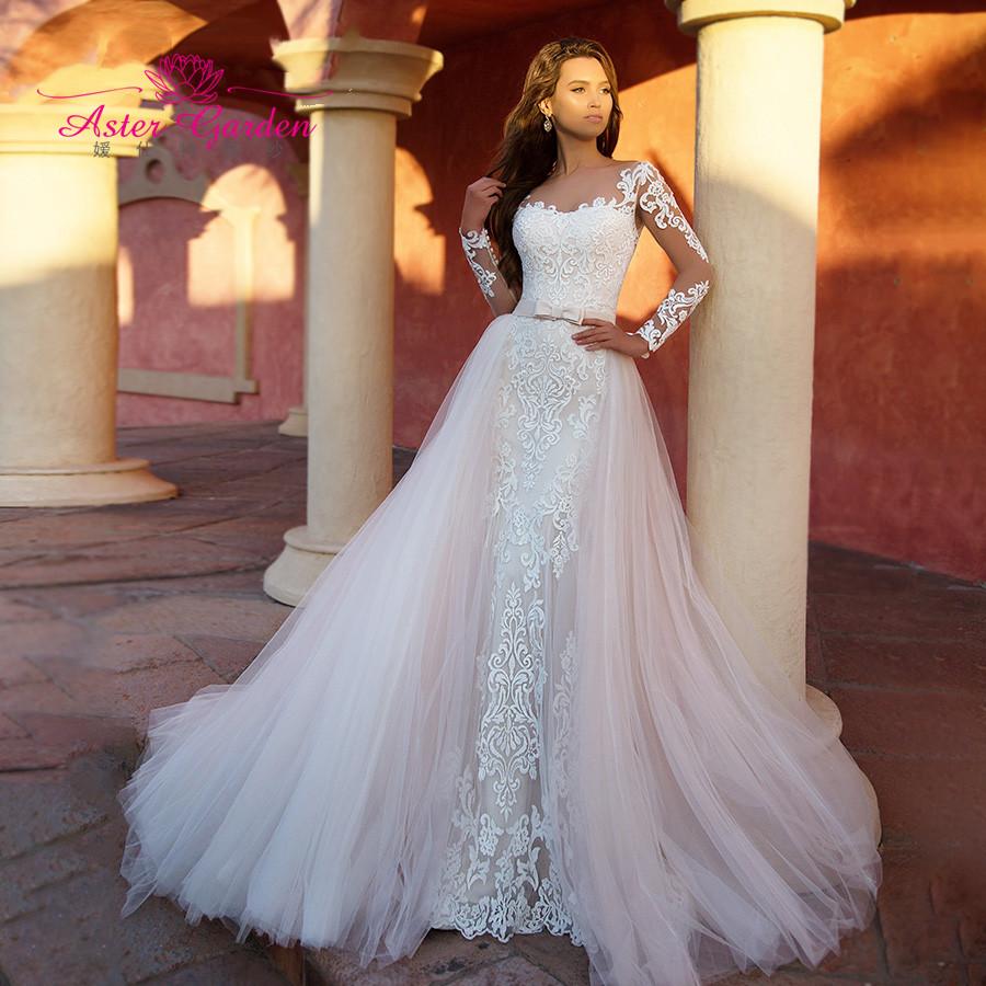 Астра сад русалка свадебное платье 2021 с длинным рукавом, съёмные части, 2 в 1 Романтический Аппликации Свадебные платья Vestido De Noiva