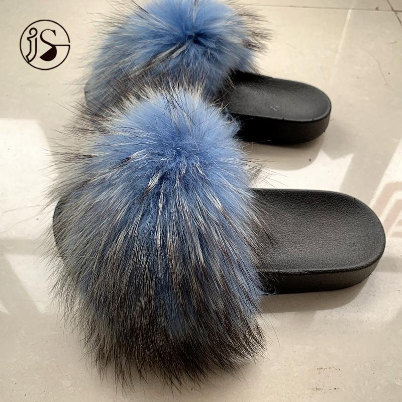 Оптовая продажа, модные женские тапочки из ПВХ, женские сандалии из натурального меха, меховые теплые женские шлепанцы