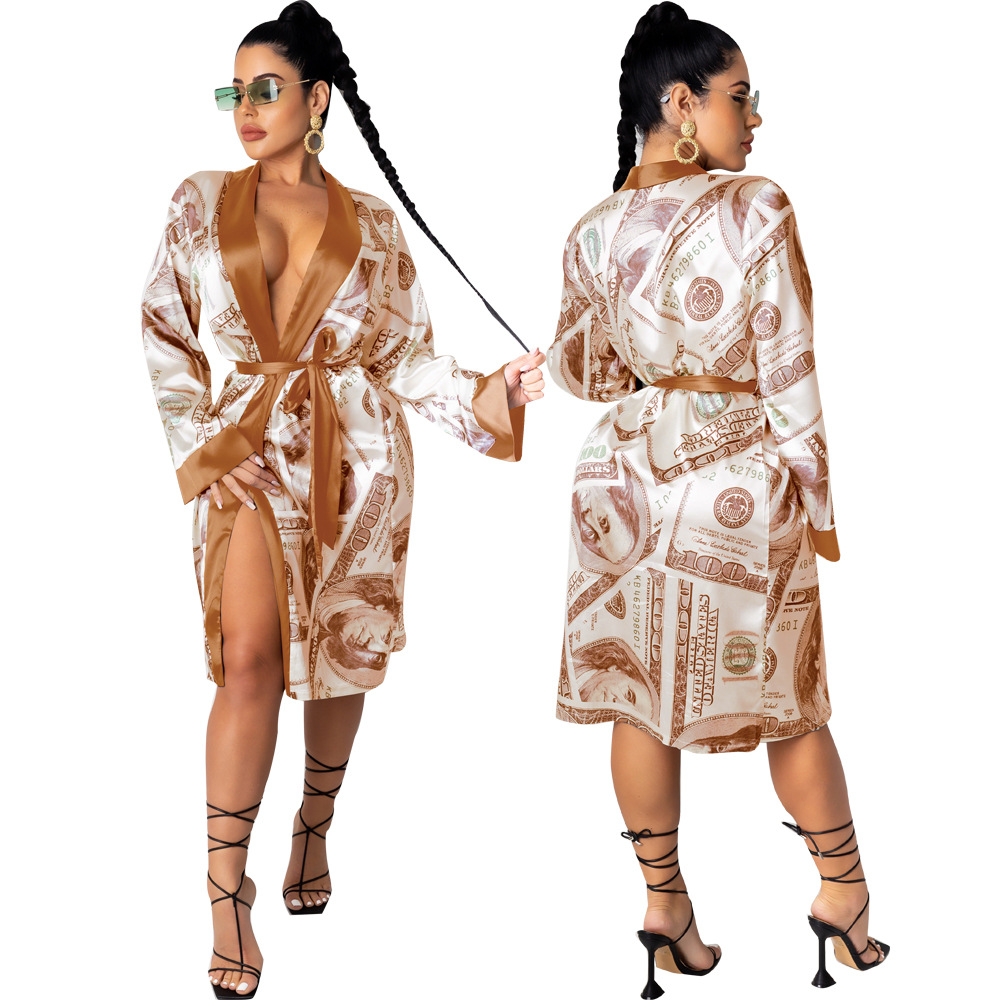 N2302 Bulk sexy femmes longue money silk satin robe long women