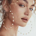 New Fashion Boho White Pearl Round Circle Hoop Earrings Women Large Size Earrings pearl earring for women