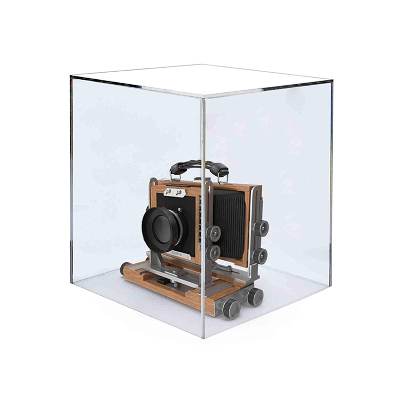 deluxe mini basketball holder display case 8 inch cube clear acrylic w/mirror